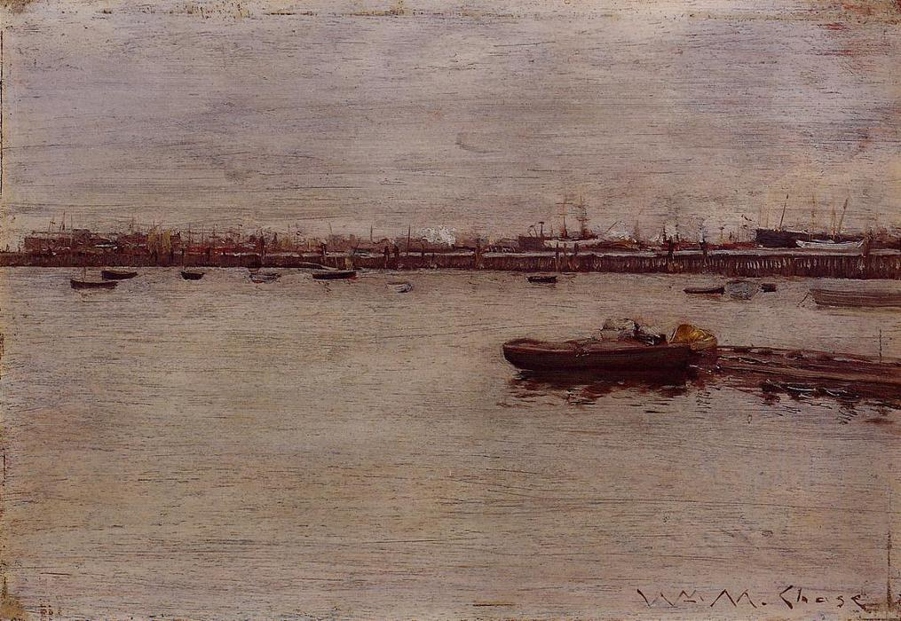 Achat Reproductions D'art | docks de réparation , Gowanus Jetée, 1888 de William Merritt Chase (1849-1916, United States) | WahooArt.com