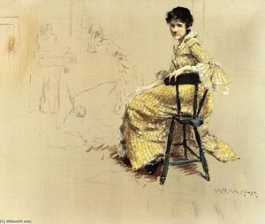 William Merritt Chase - Femme assise en robe rayée Yello
