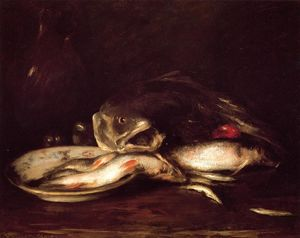 Achat Reproductions D'art | encore `llife` avec poisson et plaque de William Merritt Chase (1849-1916, United States) | WahooArt.com