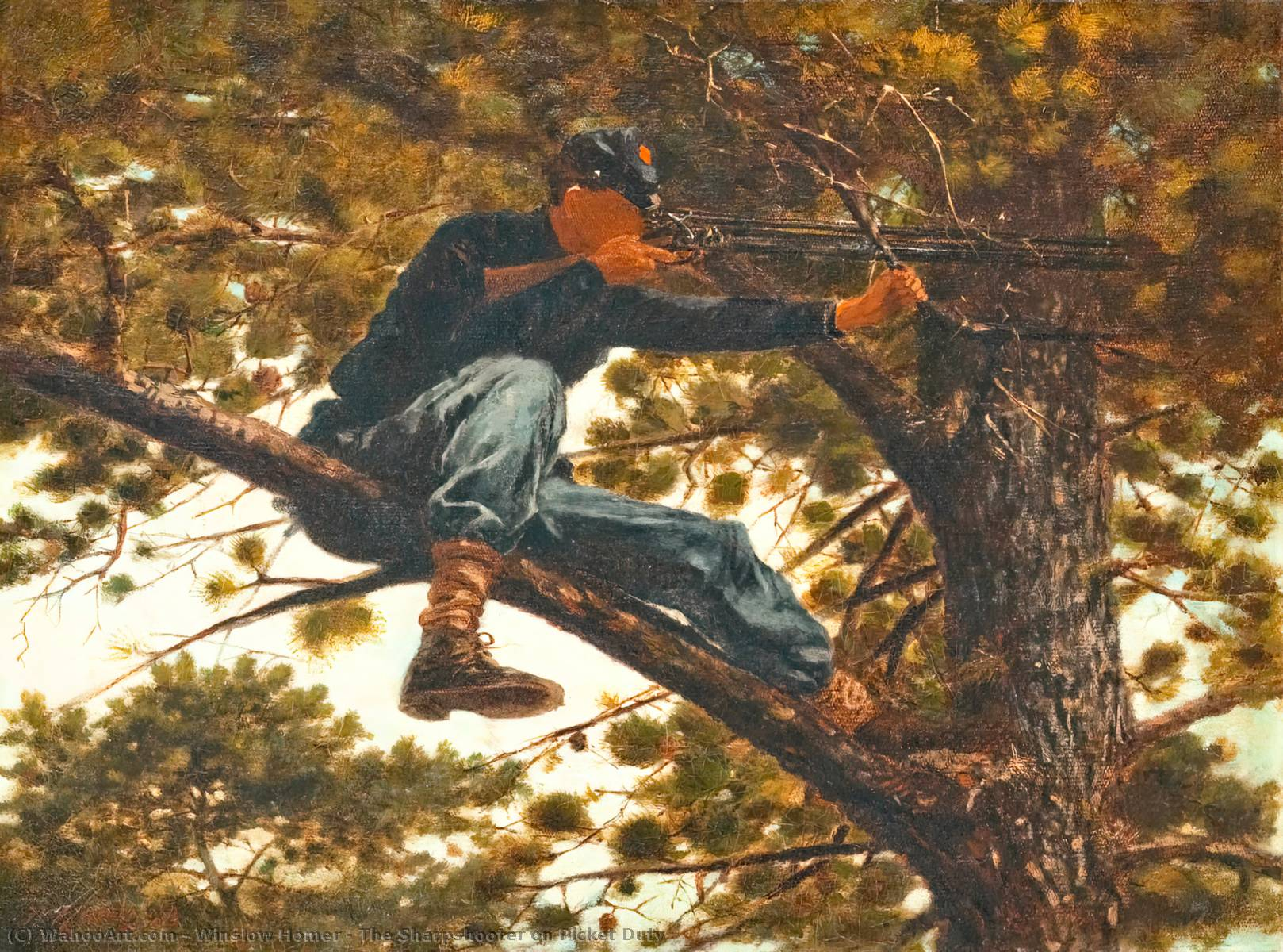Le Sharpshooter sur Picket Duty, 1863 de Winslow Homer (1836-1910, United States) | Reproductions D'œuvres D'art Winslow Homer | WahooArt.com
