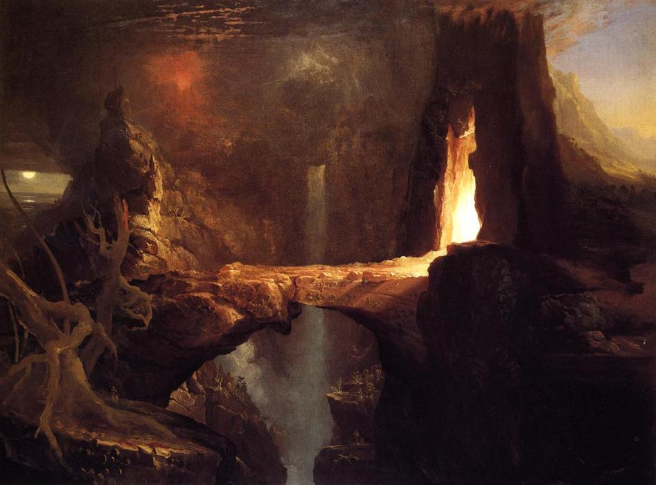 Expulsion . lune et firelight, 1828 de Thomas Cole (1801-1848, United Kingdom) | Reproductions De Qualité Musée Thomas Cole | WahooArt.com