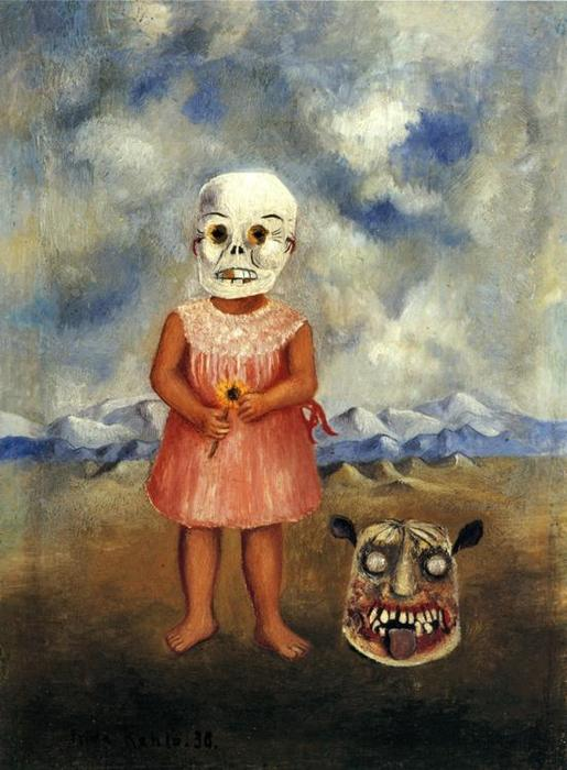 fille avec mort masque huile de frida kahlo 1907 1954 mexico. Black Bedroom Furniture Sets. Home Design Ideas