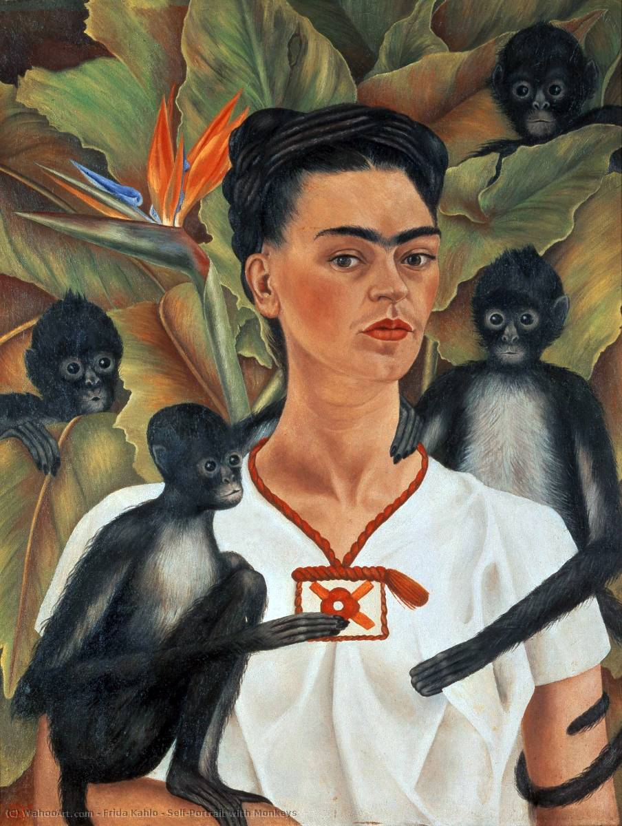 Autoportrait avec Monkeys, 1943 de Frida Kahlo (1907-1954, Mexico) | Reproduction Peinture | WahooArt.com