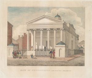 Thomas Birch - la banque des pennsylvanie austral  seconde  rue  Crême philadelphia  1