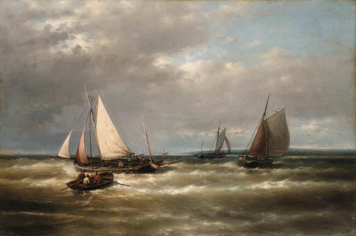 Expédition on Story Seas, Huile de Abraham Hulk Senior (1813-1897, Netherlands)