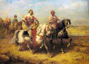 Adolf Schreyer - Chieftain arabe et son entourage