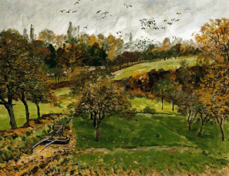 paysage dautomne , Louveciennnes, huile sur toile de Alfred Sisley (1839-1899, France)