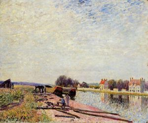 Alfred Sisley - Barges sur Loing Saint-Mammès