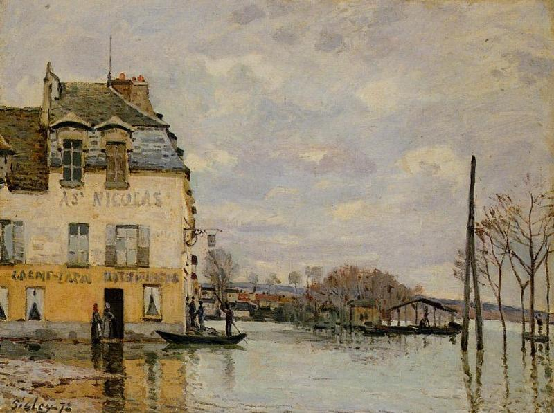 Inondation à Port-Marly 3  , Huile de Alfred Sisley (1839-1899, France)