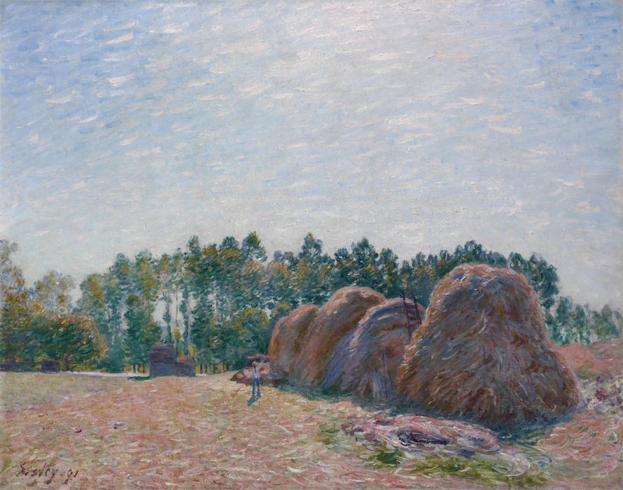 Commander Tableau Peint À La Main Meules de foin à Moret Morning Light, 1890 de Alfred Sisley (1839-1899, France) | WahooArt.com | Commander Tableau À L'huile Meules de foin à Moret Morning Light, 1890 de Alfred Sisley (1839-1899, France) | WahooArt.com