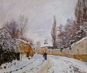 Alfred Sisley - route sous neige , Louveciennes