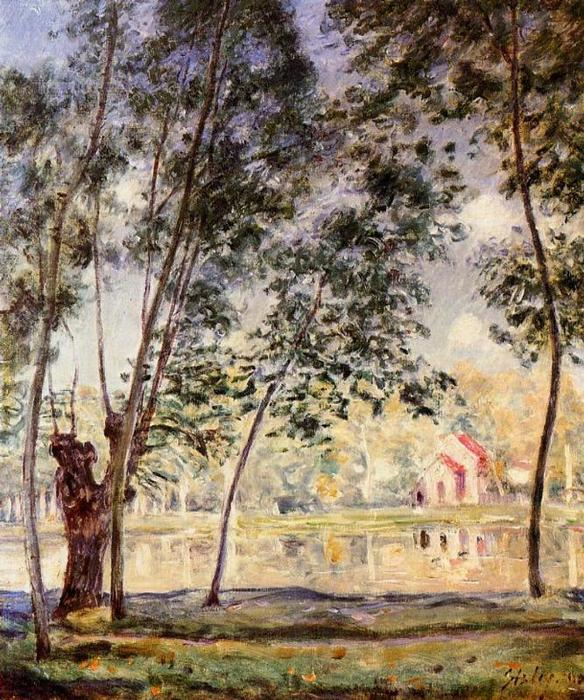 Sunny Afternoon Willows par le Loing, huile sur toile de Alfred Sisley (1839-1899, France)