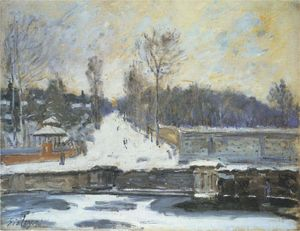 Achat Reproductions D'art | le point d eau à marly le roi en hiver, 1875 de Alfred Sisley (1839-1899, France) | WahooArt.com