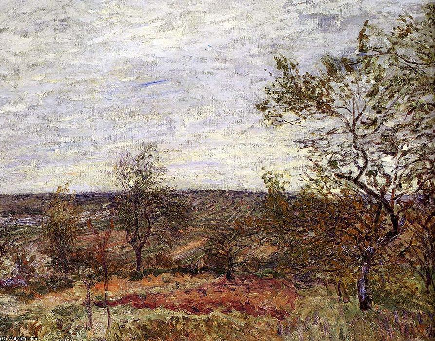 Windy Day At Veneux, huile sur toile de Alfred Sisley (1839-1899, France)