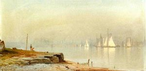 Alfred Thompson Bricher - Port Scène et White Sails