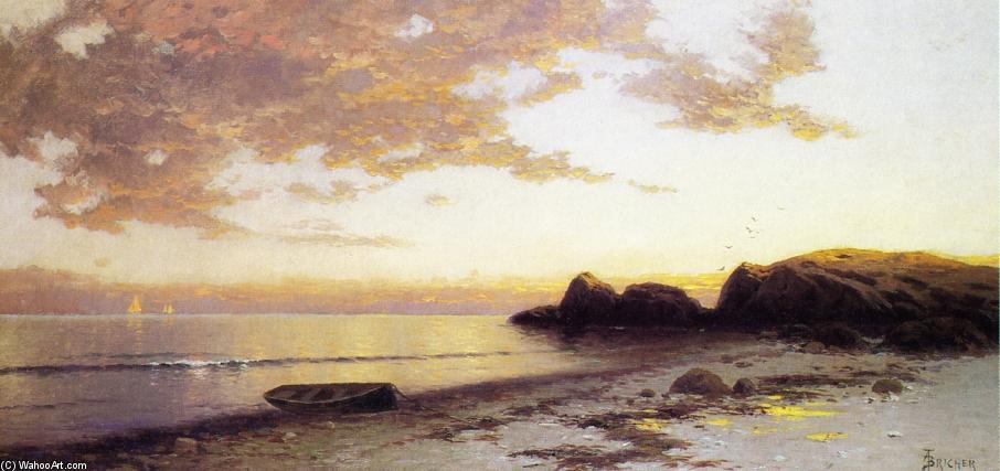 Côte Maine 1   de Alfred Thompson Bricher (1837-1908, United States) | Reproductions D'œuvres D'art Alfred Thompson Bricher | WahooArt.com