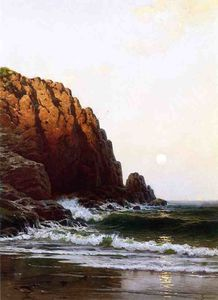 Alfred Thompson Bricher - Moonrise , côte du maine