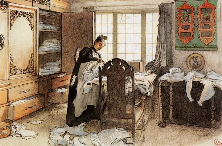 Karin A L Armoire 224 Linge Aquarelle De Carl Larsson 1853