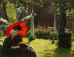 Charles Courtney Curran - Après-midi à cluny Jardins , Paris