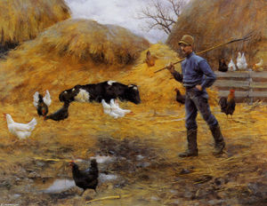 Charles Courtney Curran - Dans The Barnyard