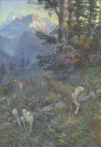 Charles Marion Russell - cerf dans forêt