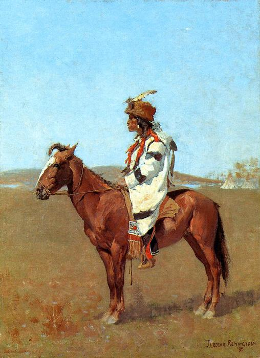 Un chef Blackfoot, huile de Frederic Remington (1861-1909, United States)