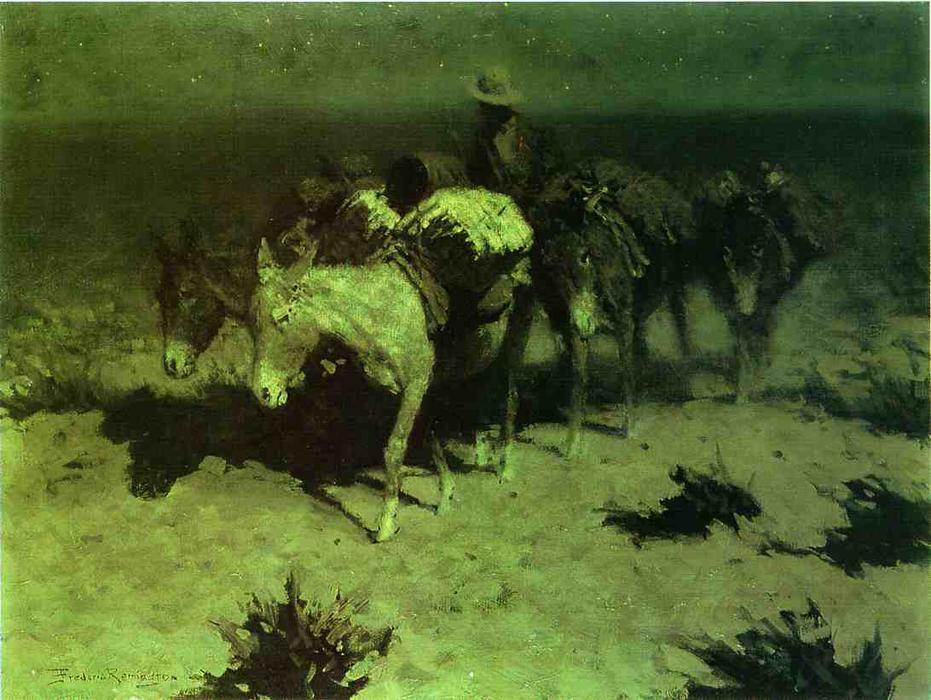 A Train Paquet, huile sur toile de Frederic Remington (1861-1909, United States)