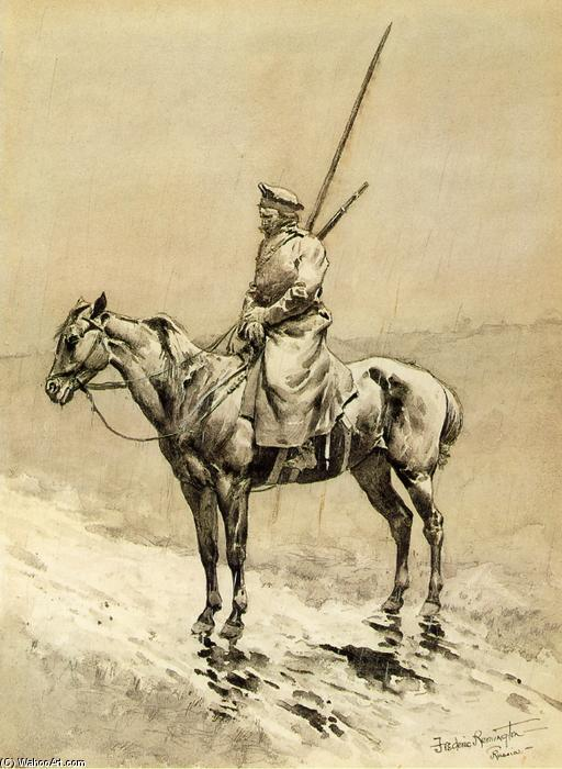Cosaque Picket sur la frontière allemande, aquarelle de Frederic Remington (1861-1909, United States)