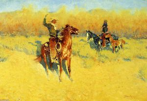 Frederic Remington - la longue-klaxon `cattle` signe