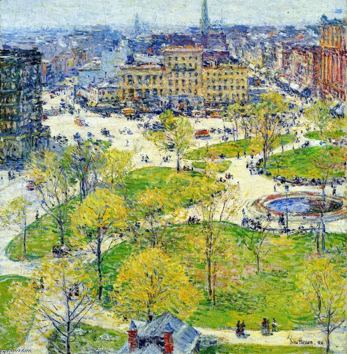 union` carré dans printemps, 1896 de Frederick Childe Hassam (1859-1935, United States) | Copie Tableau | WahooArt.com