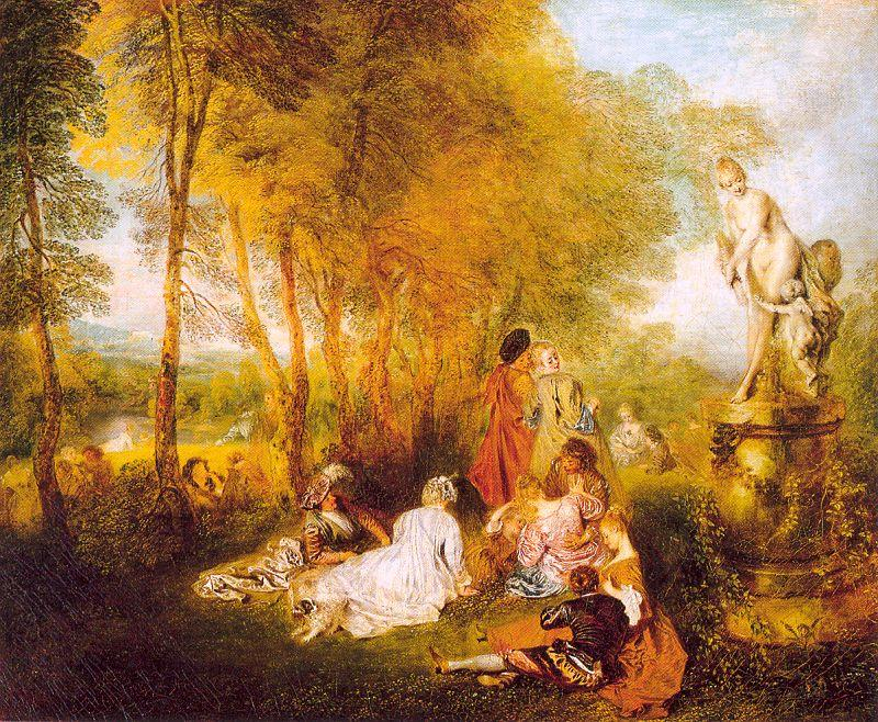 le `pleasures` de l`amour, 1719 de Jean Antoine Watteau (1684-1721, France) | Reproduction Peinture | WahooArt.com