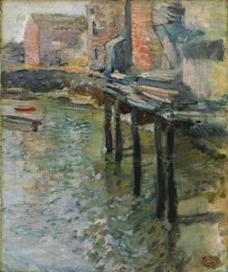 John Henry Twachtman - Déserte Wharf (The Old Mill A Cos Cob)