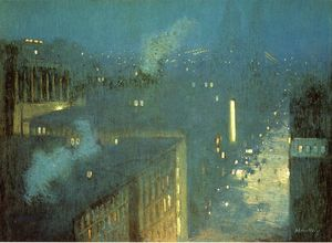 Julian Alden Weir - Le Pont Nocturne alias Nocturne Queensboro Bridge
