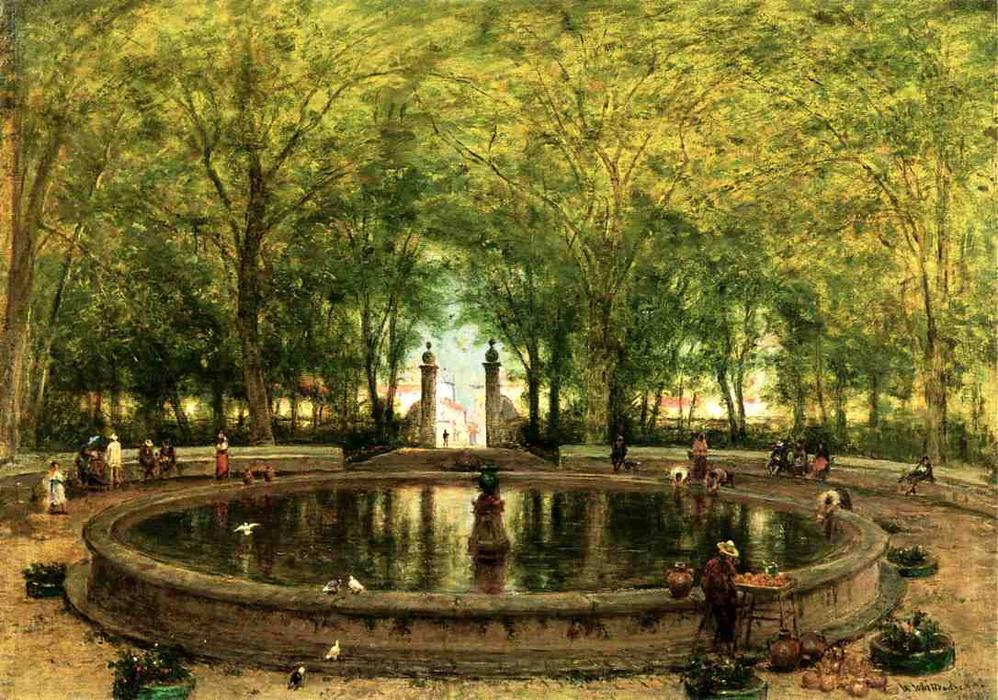 A Fontaine mexicaine, de la ville de Orizaba, huile sur toile de Thomas Worthington Whittredge (1820-1910, United States)