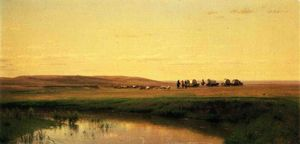 Thomas Worthington Whittredge - A Train Wagon dans les plaines la rivière Platte