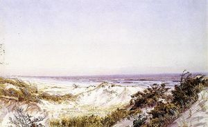 William Trost Richards - atlantique ville -   plage  de dunes  et  herbe