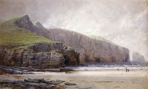 William Trost Richards - pêcheur sur la rive , Trebarwith Brin , Cornouailles
