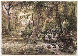 William Trost Richards - paysage avec ruisseau et route le comté de Chester