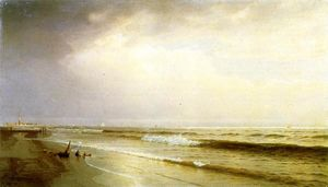 William Trost Richards - paysage marin avec lointain phare , atlantique ville , new jersey