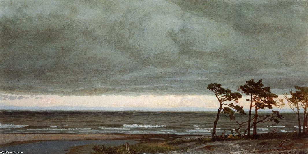 Achat Reproductions D'art | Seascape avec Pines et Nuages ​​surplomb de William Trost Richards (1833-1905, United States) | WahooArt.com