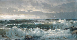 William Trost Richards - Surf sur Rocks