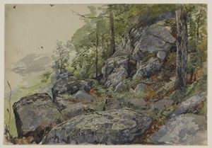 William Trost Richards - Woodland Boulders