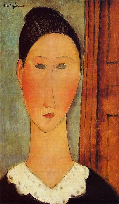 chef d`un fille, 1918 de Amedeo Modigliani (1884-1920, Italy) | Reproductions D'œuvres D'art Amedeo Modigliani | WahooArt.com
