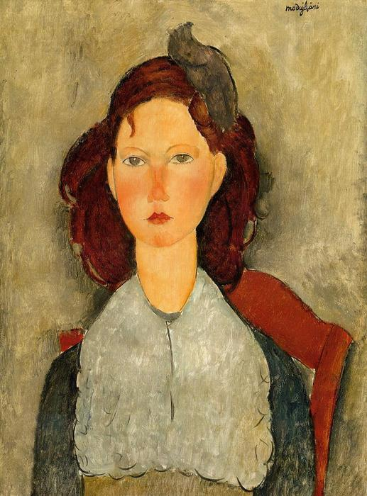 Achat Reproductions D'œuvres D'art | Jeune fille assise, 1918 de Amedeo Modigliani (1884-1920, Italy) | WahooArt.com