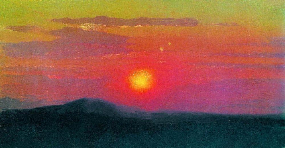 Coucher de soleil rouge huile de arkhip ivanovich kuinji - L heure du coucher du soleil aujourd hui ...