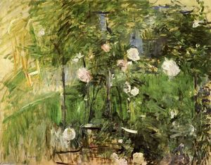 enfant dans le rose jardin huile sur toile de berthe morisot 1841 1895 france. Black Bedroom Furniture Sets. Home Design Ideas