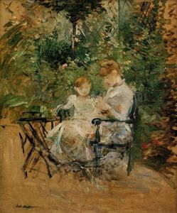le lesson dans le jardin huile sur toile de berthe morisot 1841 1895 france. Black Bedroom Furniture Sets. Home Design Ideas