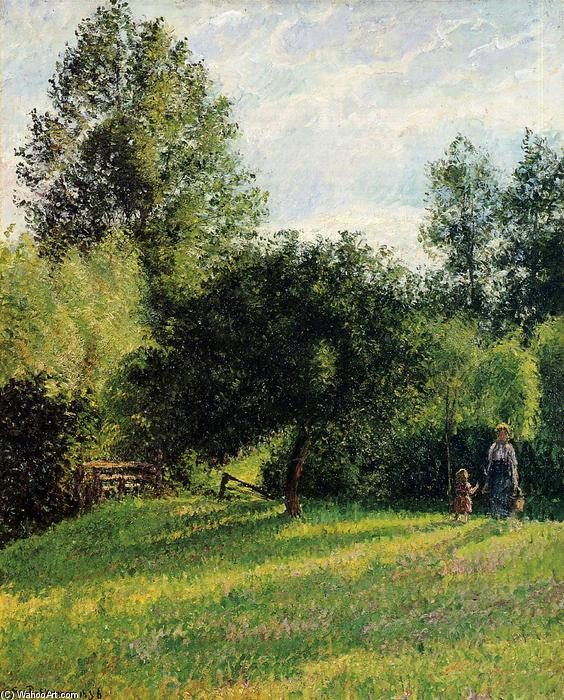 des pommiers , Coucher du soleil , Eragny de Camille Pissarro (1830-1903, United States) | Reproductions D'œuvres D'art Camille Pissarro | WahooArt.com