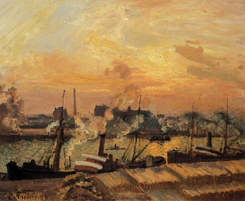Bateaux coucher du soleil rouen huile sur toile de - L heure du coucher du soleil aujourd hui ...