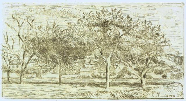 Paysage pontoise pomme arbres dessin de camille - Camille dessin ...
